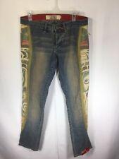 INDIGO RED Lux Industrial Denim Malia Low Rise Button Fly Acid Wash Jeans SZ 33