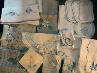 Lot Vintage 18 Hand Embroidered Linens, Towels, Fabric, etc.