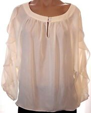 New Allen B. S, small Ivory ruffled batwing keyhole front blouse shirt top
