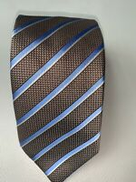 Recent Canali Gold with Blue Striped Silk Tie Made in Italy