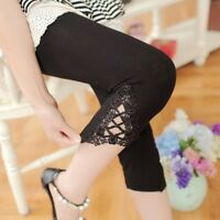 Women Summer Hollow Lace Stretch Lleggings Thin Sports Fitness Yoga Skinny Pants