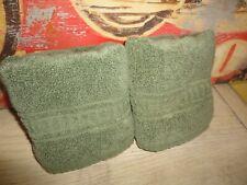 LAURA ASHLEY LIFESTYLES GREEN TILE BLOCKS (2) HAND TOWELS 16 X 26