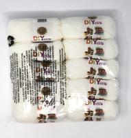 NIB Lion brand Acrylic yarn 10 Skeins per bag 650 yards Color White MSRP $45.