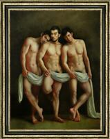 """Hand painted Original Oil Painting art Portrait male nude on canvas 30""""x40"""""""