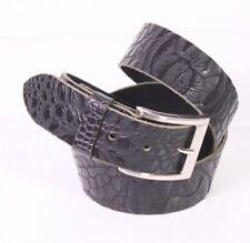 G381 Damen Allround Gürtel Leder schwarz 95 cm robust Jeansgürtel Krokolook