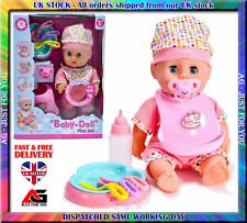 Kids Baby Doll  Play Set Toy With Sound Sleeping Eyes & Accessories X-mas Gift