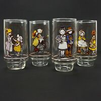 Holly Hobbie Set of 4 Ltd Ed Vintage 70s Happy Talk Coca Cola Tumbler Glasses