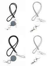 Braided Leather Lanyard With Metal Retractable Badge Reel Key Ring Blacksilver