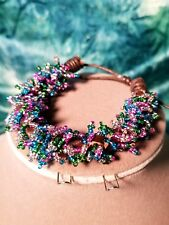 Pastel Color Seed Bead Braided Leather Adjustable Bracelet . H-crafted Sales!