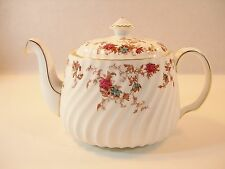 BEAUTIFUL MINTON ANCESTRAL TEAPOT CRANBERRY TURQUOISE FLOWERS WHITE PORCELAIN