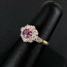 (Wi1) 18ct Ruby & Diamond Cluster Ring 3.8gms Size K - 81-08-078