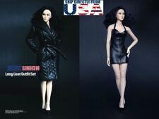 "1/6 Leather Coat Dress Set For 12"" PHICEN Hot Toys TBLeague Female Figure U.S.A."