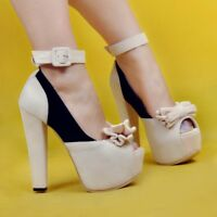 NICE Women Pumps Platform Strappy Chunky Heels Pumps Casual Shoes Plus Size 20