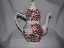 red transferware COFFEE pot GRINDLEY HOMELAND England
