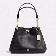 "$395 COACH 13"" Edie  PEBBLED-Leather Shoulder Bag 36855 Turnlock & Chain Black"