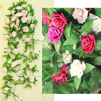 Fake Silk Rose Flower Artificial Ivy Vine Hanging Garland Wedding Home Decor JP8