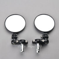 "Black Motorcycle Round 7/8"" Handle Bar End Foldable Mirror For Honda Sports Bike"