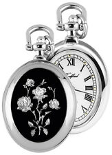 Chrome Quartz Pendant Watch on Chain with Enamelled Roses 1226