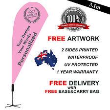3.4m PERSONALIZED Teardrop Flag Banner Kit Outdoor Ground Spike Cross Base