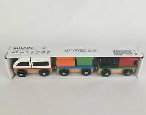 Ikea Lillabo 3-Piece Train Set w/ Cargo Wooden New