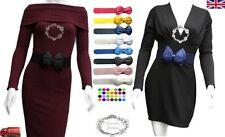 Ladies Women Fashion Bowknot Bow Stretch Elastic Waist Belt UK Seller Fast Ship