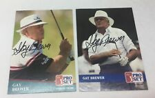 lot of 2 hand signed autographed PGA cards ~ GAY BREWER