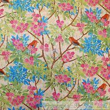 BonEful Fabric Cotton Quilt Pink Blue Spring Robin Bird Flower Tree Toile SCRAP