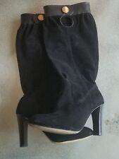 """Michael KORS """"Harness Top"""" SZ 6.5 Leather Black Suede Knee High Tall Boots"""
