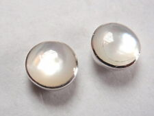 Very Small Mother of Pearl Circles 925 Sterling Silver Stud Earrings
