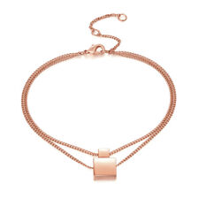 18K Rose Gold Square Bracelet Geometric Small Layered Adjustable Chain Clasp