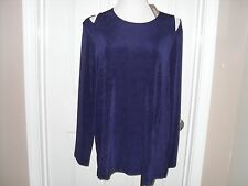 $79 Chico's Travelers  Purple Cut Out Cold Shoulder Top Size 2=12/14 NWT