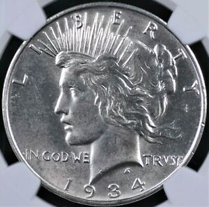 1934 D PEACE DOLLAR NGC MS 62 GLOWING WHITE WELL STRUCK AND A GEM FOR THE GRADE