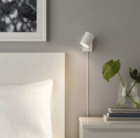 Ikea NYMANE Wall/Reading Lamp Dimmable Metal, White + LED Bulb - NEW