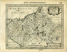 1651 Genuine Antique map northern Germany, Meklenburg, Baltic. Mercator/Jansson