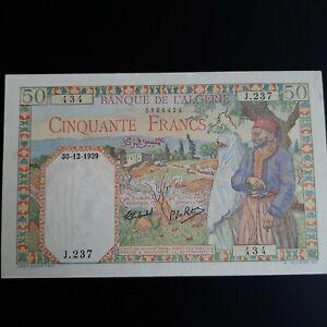 Algeria 50 francs 1939 pick 84 UNC