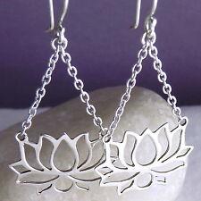 LOTUS SilverSari Jali Chain Chandelier Drop Earrings Solid 925 Sterling Silver