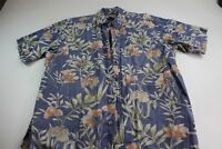 Cooke Street Honolulu Blue Floral Hawaiian CAMP SHIRT Large L