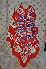 VINTAGE 70's red white blue USA CROCHET fringed Warm  PONCHO boho HIPPIE  SWING
