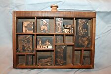 Antique Small Printers' Type Tray 16 Golf Type pieces Vtg 14 Sections B1R