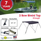 2 Bow Bimini Top Boat Cover Blue 59-61 Width 5ft Long With Storage Boot
