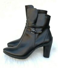 Women's Ecco Sculptured 75 Black Leather Heeled Ankle Boots Sz 41 EU (10 US)
