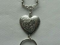 BLACK PEARLS SILVER HEART PENDANT BEADED LANYARD ID BADGE HOLDER NECKLACE