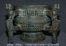 "19.2"" Antique China Bronze Ware Xizhou Dynasty Palace 4 Dragon Ear Beast Vessel"