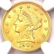 1901 Liberty Gold Quarter Eagle $2.50 Coin - NGC MS62 (BU UNC) - Rare Coin!