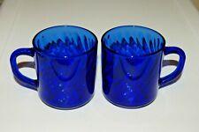 Arcoroc France Cobalt Blue Glass Mugs Cups Swirl SET OF 2