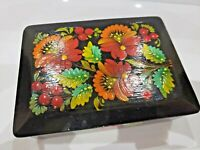 Vintage Wood Hand Painted Lacquer Box Floral Beautiful Trinket Case  1930.46