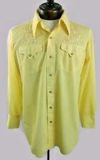 H BAR C Vintage Western Pearl Snap Shirt Embroidered Yellow Mens Medium M?