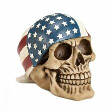 America Patriotic Statue Figurine with Skull Head Wearing a American Flag Design