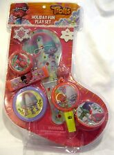 Trolls Holiday Fun PlaySet-Yo yo,spin top,hermonica,whistle,flying Disc-New!