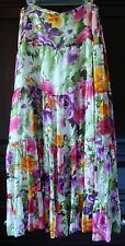 Jones New York 100% Silk 39.5 Long Floral Silk Tierd Skirt Plus Size 20W